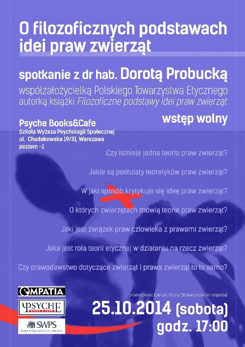 Plakat spotkania z dr hab Dorota Probucka