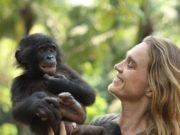 Bonobos and veterinarian Lola Ya Bonobo Sanctuary in Kinshasa.
